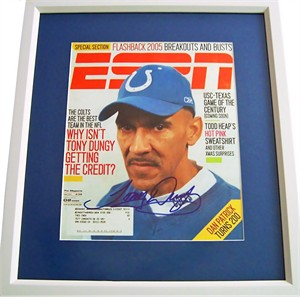 Tony Dungy autographed Indianapolis Colts ESPN Magazine cover matted & framed