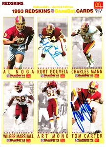 Tom Carter & Kurt Gouveia autographed Washington Redskins 1993 McDonald's GameDay card sheet