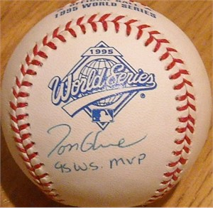 Tom Glavine autographed 1995 World Series baseball inscribed 95 W.S. MVP