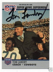 Tom Landry autographed Dallas Cowboys Super Bowl 1990 Pro Set card