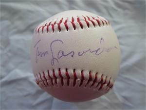 Tom Lasorda autographed Tony the Tiger logo baseball