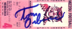 Tom Osborne autographed Nebraska Cornhuskers 1983 ticket stub
