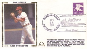 Tom Seaver 3000 Strikeouts 1981 Cincinnati Reds Gateway commemorative cachet