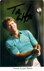Tom Watson autographed 1987 Fax Pax golf card
