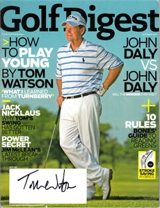 Tom Watson autographed 2009 Golf Digest magazine
