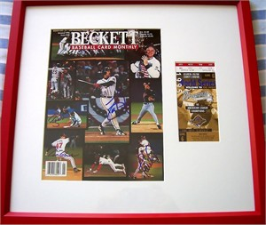 Tom Glavine David Justice Ryan Klesko Javy Lopez autographed Atlanta Braves 1995 World Series Beckett cover framed with ticket
