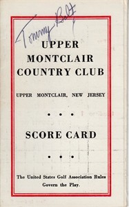Tommy Bolt autographed Upper Montclair Country Club 1960s golf scorecard