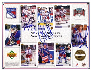 Tony Amonte Kris King Sergei Nemchinov James Patrick autographed 1991-92 New York Rangers Upper Deck card sheet