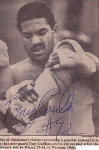 Tony Casillas autographed Oklahoma Sooners 1985 newspaper photo (JSA)