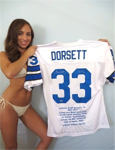 Tony Dorsett autographed Dallas Cowboys stitched jersey with embroidered stats #23/33 (TriStar)