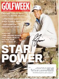 Tony Finau autographed 2014 Golfweek magazine
