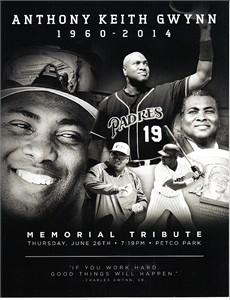 Tony Gwynn San Diego Padres June 26 2014 Memorial foldout program