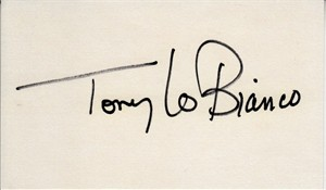 Tony Lo Bianco autographed index card
