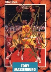 Tony Massenburg autographed Maryland Terrapins 1990 Star Pics card