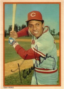 Tony Perez autographed Cincinnati Reds 1985 Topps Circle K All Time Home Run Kings card