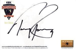 Tony Romo autographed Celebrity Championship 4x6 signature card