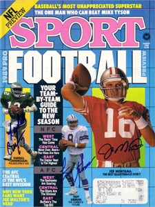 Troy Aikman Randall Cunningham Joe Montana autographed 1989 Sport magazine