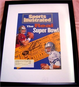 Troy Aikman & Steve Young autographed 1995 Sports Illustrated cover matted & framed