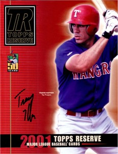 Travis Hafner autographed Texas Rangers 2001 Topps Reserve promo photo