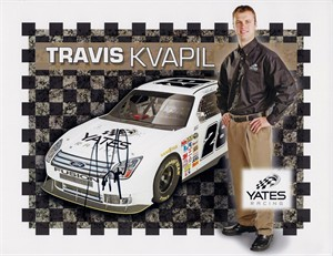 Travis Kvapil autographed Yates Racing NASCAR photo card