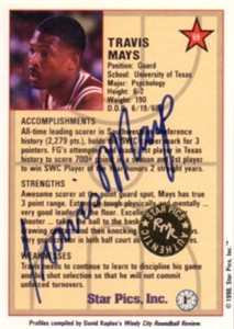 Travis Mays certified autograph Texas Longhorns 1990 Star Pics card