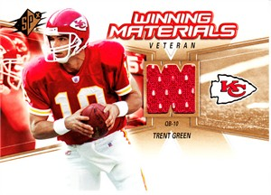 Trent Green Kansas City Chiefs 2006 SPx Winning Materials game worn jersey card