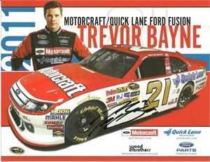 Trevor Bayne autographed 2011 NASCAR photo card