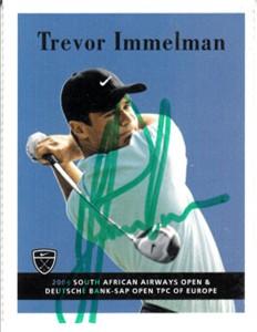 Trevor Immelman autographed 2004 Nike Golf card