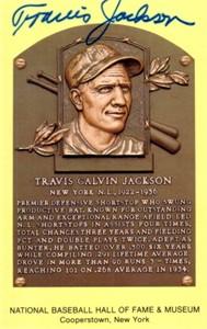 Travis Jackson autographed Baseball Hall of Fame plaque postcard