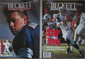 Lot of 2 Troy Aikman Dallas Cowboys Beckett Football Monthly magazines