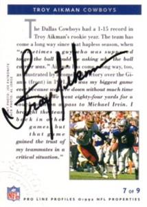 Troy Aikman certified autograph Dallas Cowboys 1992 Pro Line card