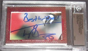 Troy Brown & Richard Seymour certified autograph 2012 Leaf Executive Masterpiece Dual Cut Signature card #1/1