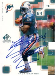 Troy Drayton certified autograph Miami Dolphins 1999 SP card