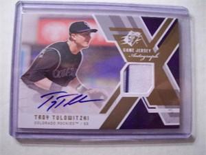 Troy Tulowitzki certified autograph Colorado Rockies game jersey 2009 SPx card