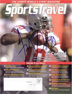 Troy Smith autographed Ohio State Buckeyes 2006 SportsTravel magazine cover