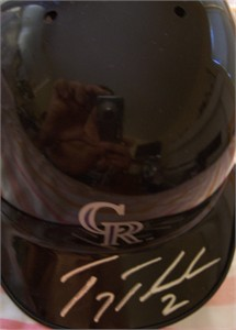 Troy Tulowitzki autographed Colorado Rockies mini batting helmet