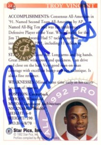 Troy Vincent certified autograph Wisconsin 1992 Star Pics card