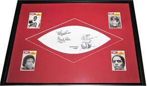 Marcus Allen Mike Garrett O.J. Simpson Charles White autographed USC Trojans Heisman football panel matted & framed (JSA)
