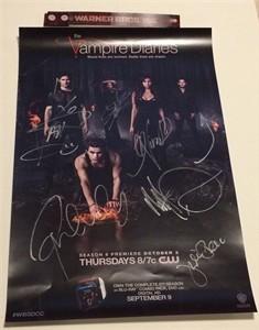 Vampire Diaries cast autographed 2014 Comic-Con poster (Nina Dobrev Kat Graham Ian Somerhalder Paul Wesley)