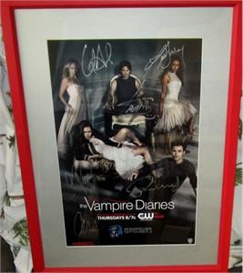 Vampire Diaries cast autographed 2013 Comic-Con poster matted & framed (Candice Accola Nina Dobrev Kat Graham Ian Somerhalder Paul Wesley)