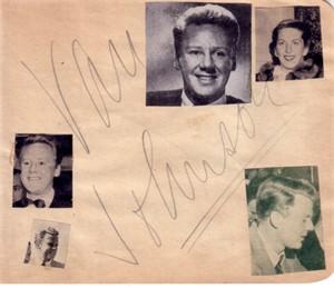 Van Johnson & Otto Kruger autographed autograph album or book page