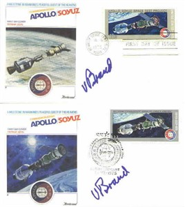 Vance Brand autographed 1975 Apollo-Soyuz set of 2 cachet envelopes