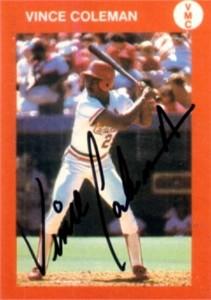 Vince Coleman autographed St. Louis Cardinals 1986 baseball card