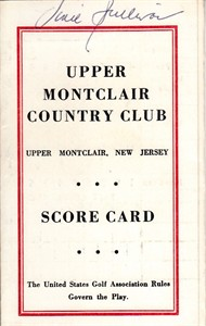 Vince Sullivan autographed Upper Montclair Country Club 1960s golf scorecard