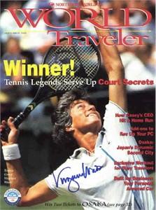 Virginia Wade autographed tennis magazine cover