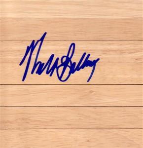 Walt Bellamy (Atlanta Hawks) autographed basketball hardwood floor