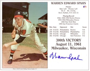 Warren Spahn autographed Milwaukee Braves 300th Victory 8x10 photo card