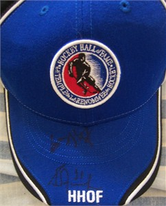 Wayne Gretzky & Grant Fuhr autographed Hockey Hall of Fame cap or hat
