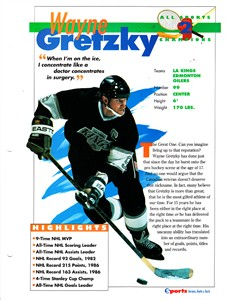 Wayne Gretzky Los Angeles Kings 1994 Sports Heroes album page