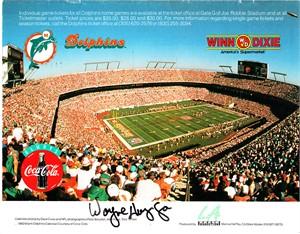 Wayne Huizenga autographed Miami Dolphins 1993 calendar back cover